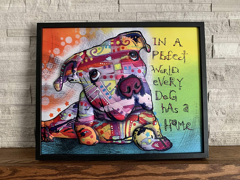 "Ilove Home Decor Framed Pit Bull Wall Art - 3D Dog Decor Wall Print - Abstract Wall Art 16""x20"""