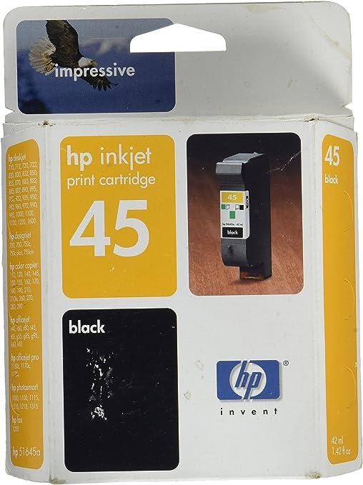 HP 51645 A - No. 45 Cartucho de tinta negra para - negro: Amazon.es: Oficina y papelería