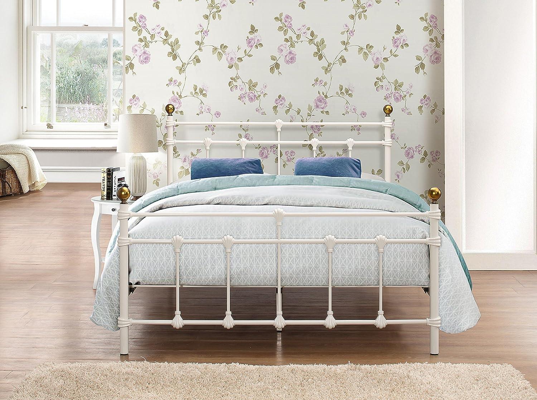 cream metal bed frame single gallery