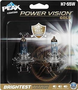 PEAK Power Vision Gold Automotive Performance Headlamp, H7 55W, 2 Pack