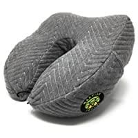 Luxury Neck Pillow by Martian Travel with a Shredded Memory Foam Cushion – Super Soft & Supportive - Comfortable & Adjustable, with a Washable Cover, 2 Side Pockets, 3D Eye Mask and Premium Ear Plugs