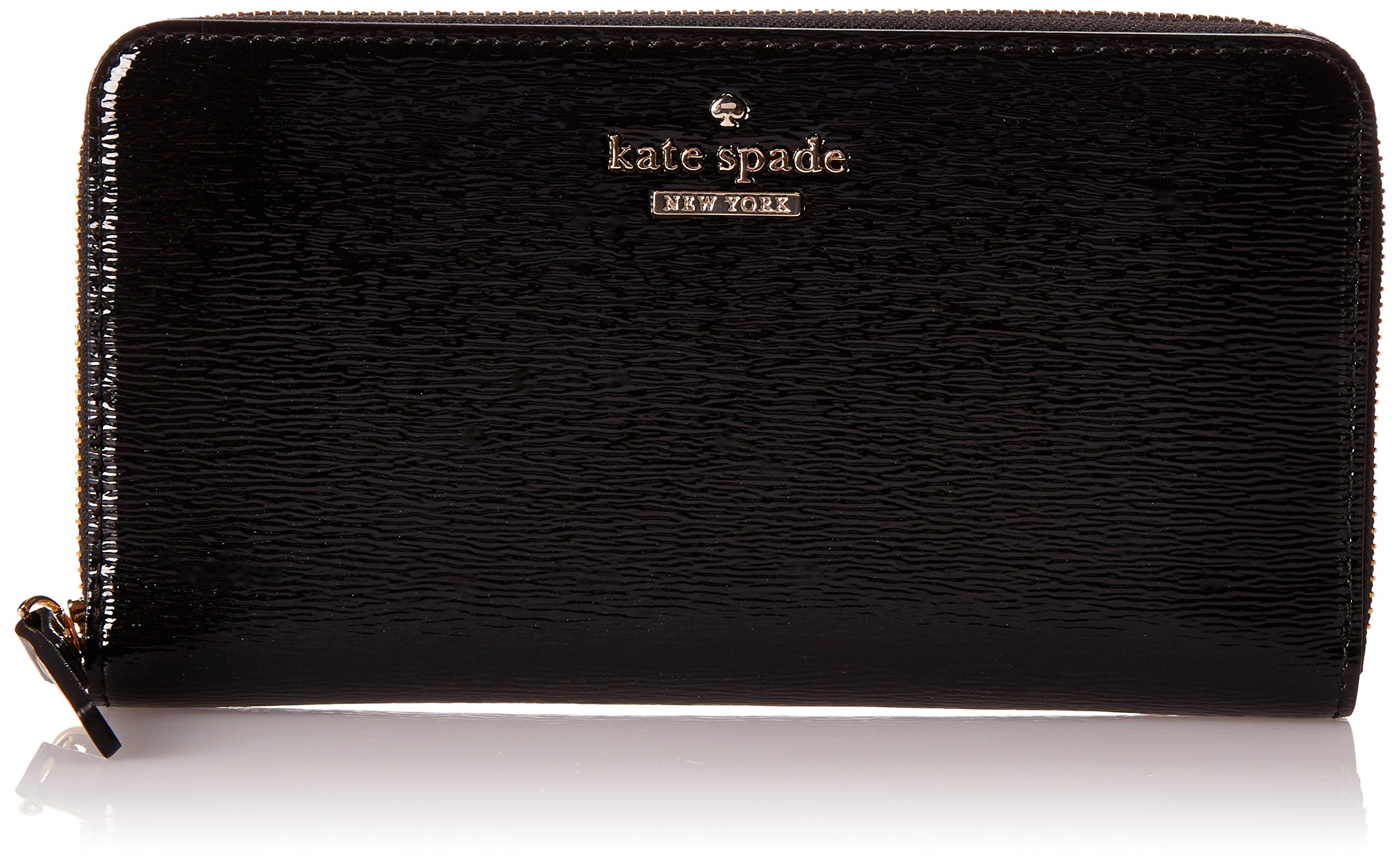 Kate Spade New York Cedar Street Patent Lacey Checkbook Wallet Black One Size