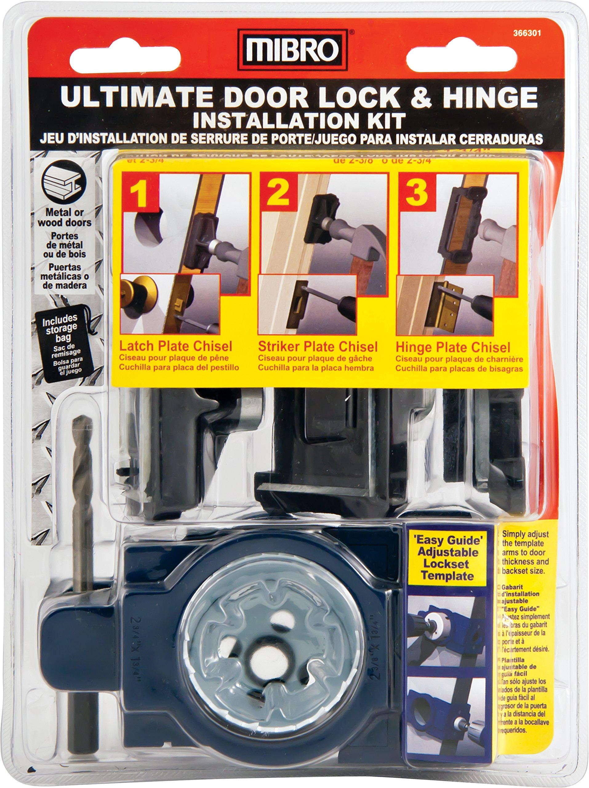 MIBRO 366301 Ultimate Door Lock and Hinge Installation Kit for Metal Doors