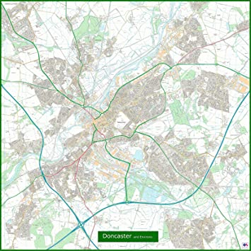 Doncaster Street Map - 155 x 155 cm: Amazon.co.uk: Office Products