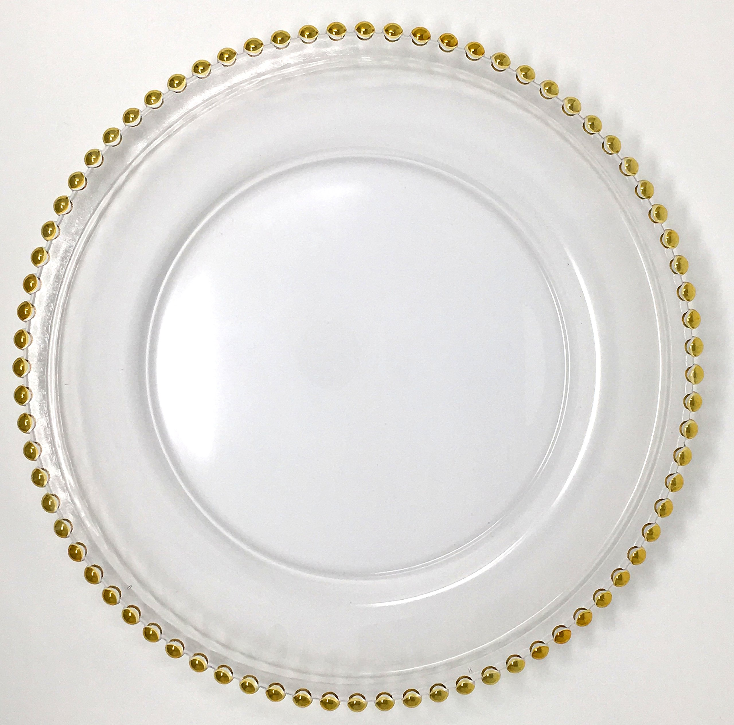 Spectacular Glass Dinnerware Formal 13-Inch Gold Beaded Rim Clear Glass Charger Plate Wedding Party Dinner Modern Appeal Glass Plates (24)