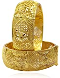 YouBella Fashion Jewellery Traditional Gold Plated Original Gold Look Wedding/Party Wear Bracelet Bangle Set of 2 Bangles Jewellery For Girls and Women