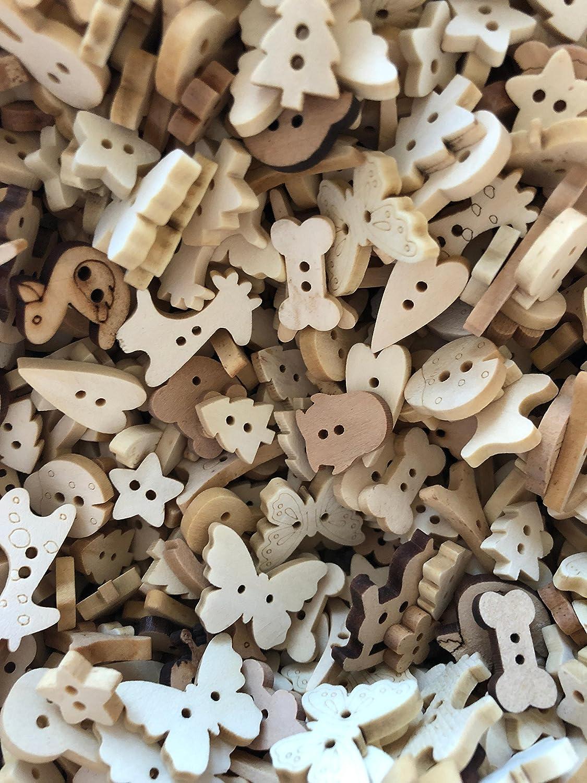 Bouton ne bois naturel forme coeur, noeud, os, arbre, animal, fleur, pied de bébé, fleur taille 11-18 mm dans sac en organza mélange de 25g (50-70 boutons env.) Diy Wedding & Crafts