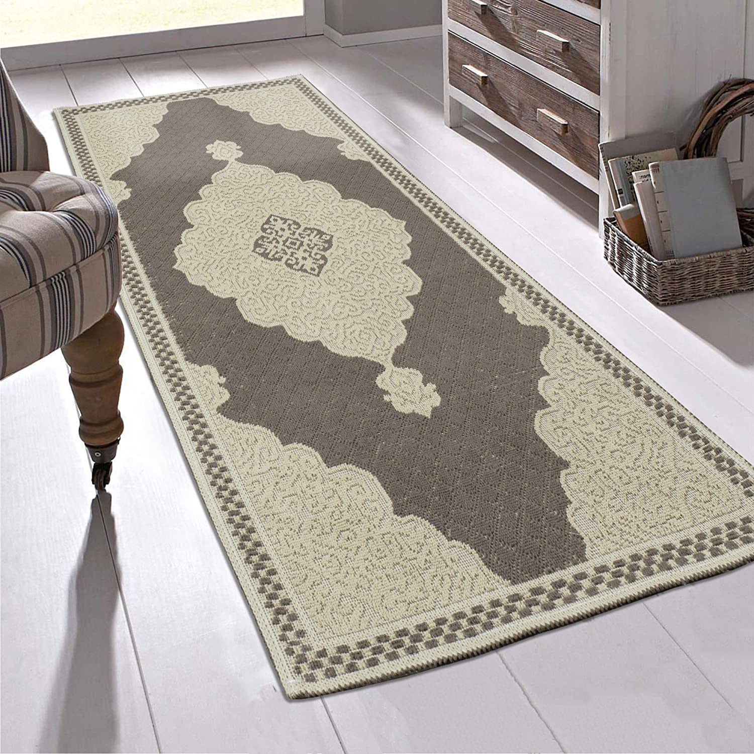 Ottomanson K11498-3X6 Nature Cotton Kilim Collection Brown Medallion Design 2'7' X 6'0' Area Rug