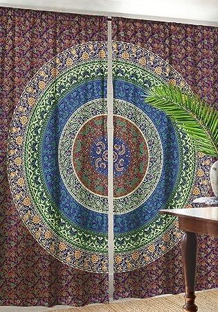 Indian Mandala Curtains Boho Door Hanging Drapes Hippie Room Darkening Panels Decorative Windows