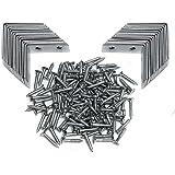 "Angle Brackets - Zinc Plated Steel Corner Brackets – 16mm /0.63"" Wide 40mm /1.57"" Long with Screws – 30 Pack By Brackit"