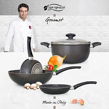 San Ignacio Set Usual Batería De Cocina Gourmet, Aluminio Prensado, Gris Oscuro, Cazo