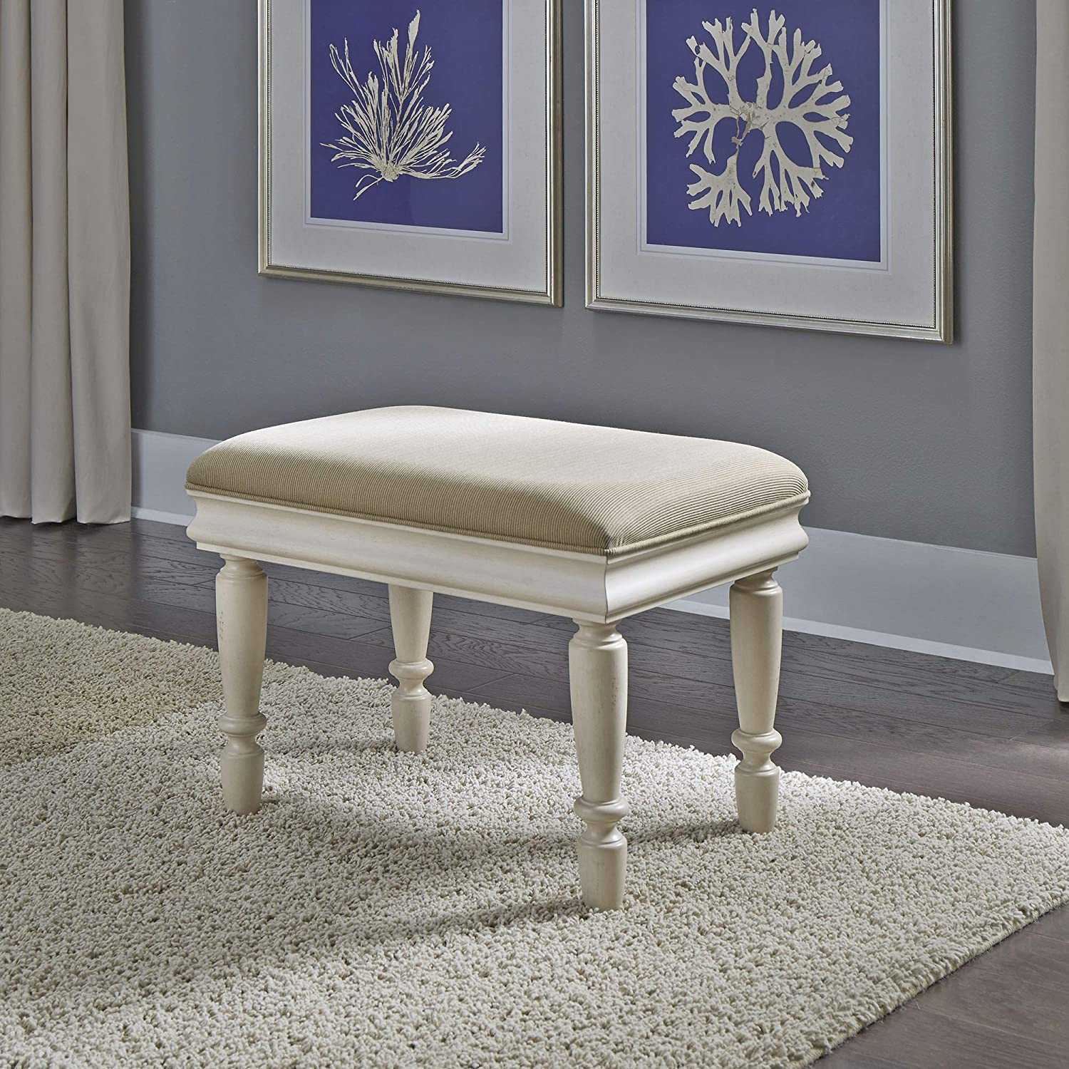 Liberty Furniture Industries Rustic Traditions II Vanity Stool, W24 x D16 x H18, White