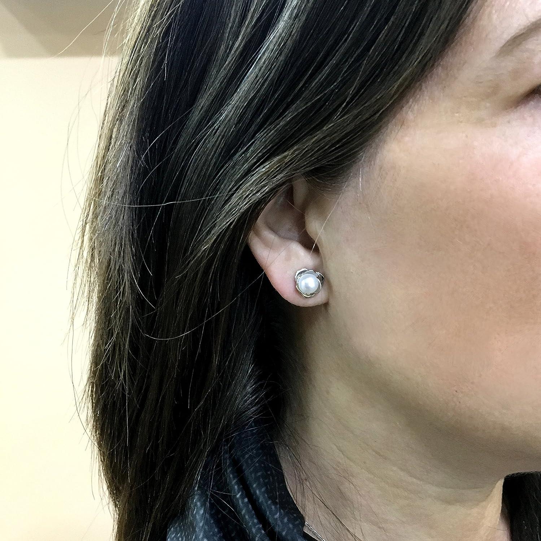 Luymar - Pendientes Mujer Plata de Ley 925 con Perlas Cultivadas y Presión, Flor Pequeños (Rodio): Amazon.es: Joyería