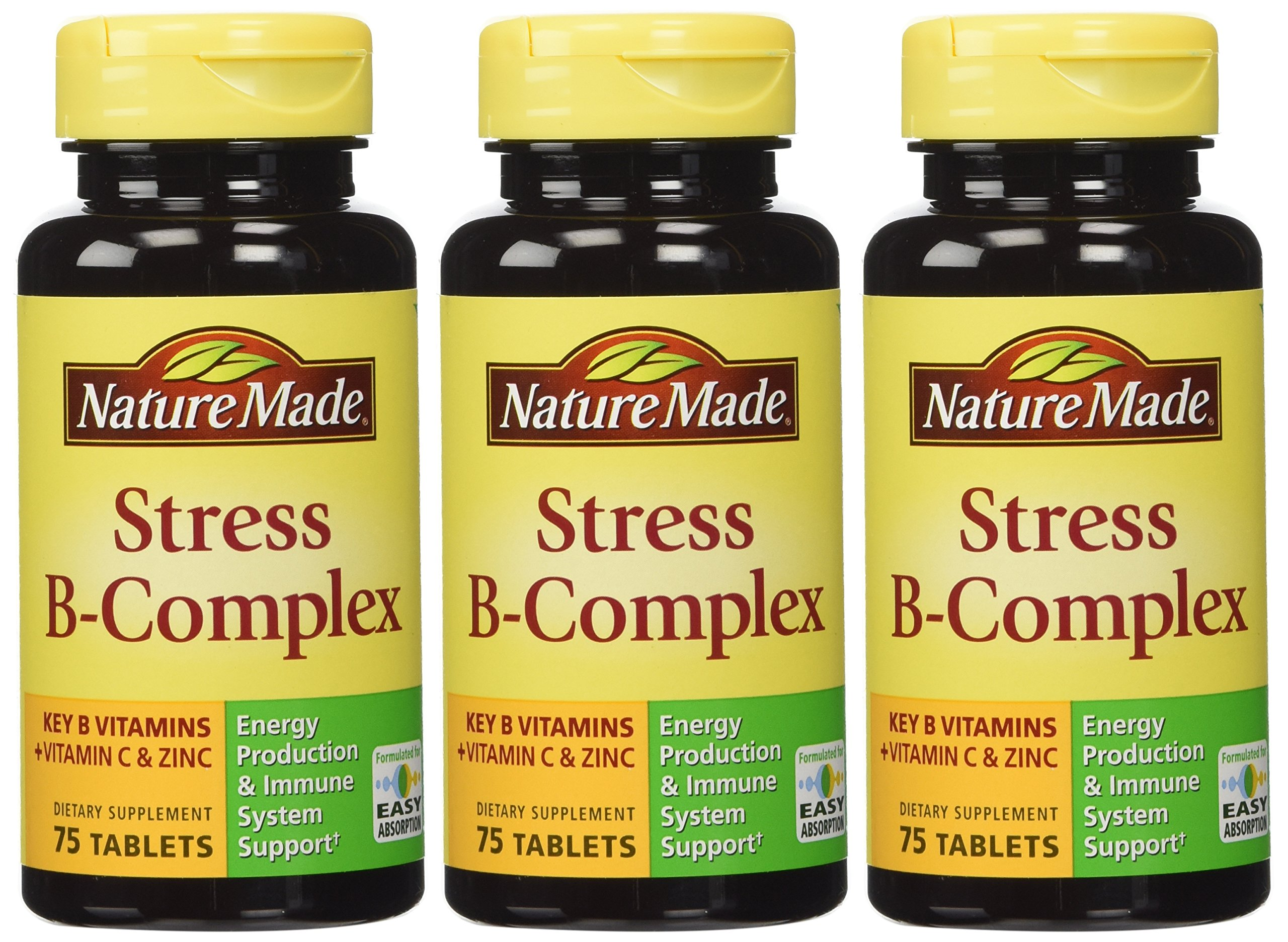 Nature Made Stress B Complex W Zinc Size 75ct (Pack of 3) 225 ct Total