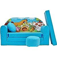 Pro Cosmo Canapé-lit B5 - avec Pouf, Repose-Pieds et Oreiller - pour Enfants - en Tissu - Bleu - 168x 98x 60cm
