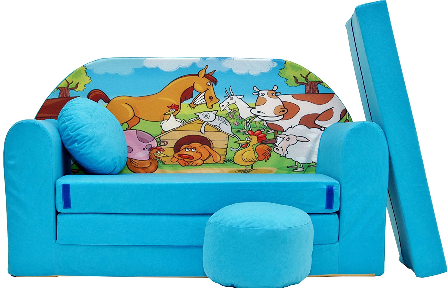Pro Cosmo B5 Kids Sofa Bed Futon with Pouffe/Footstool/Pillow, Fabric, Blue, 168 x 98 x 60 cm, Cotton 5902020145165