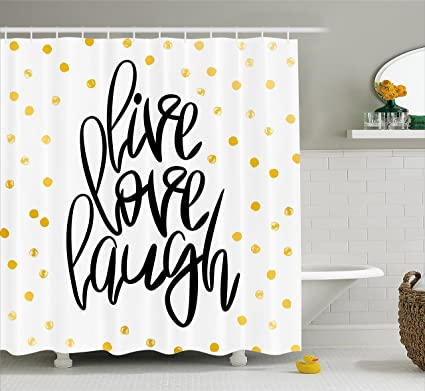 Ambesonne Live Laugh Love Shower Curtain Stylized Hand Lettering On Dotted Backdrop Inspirational Phrase