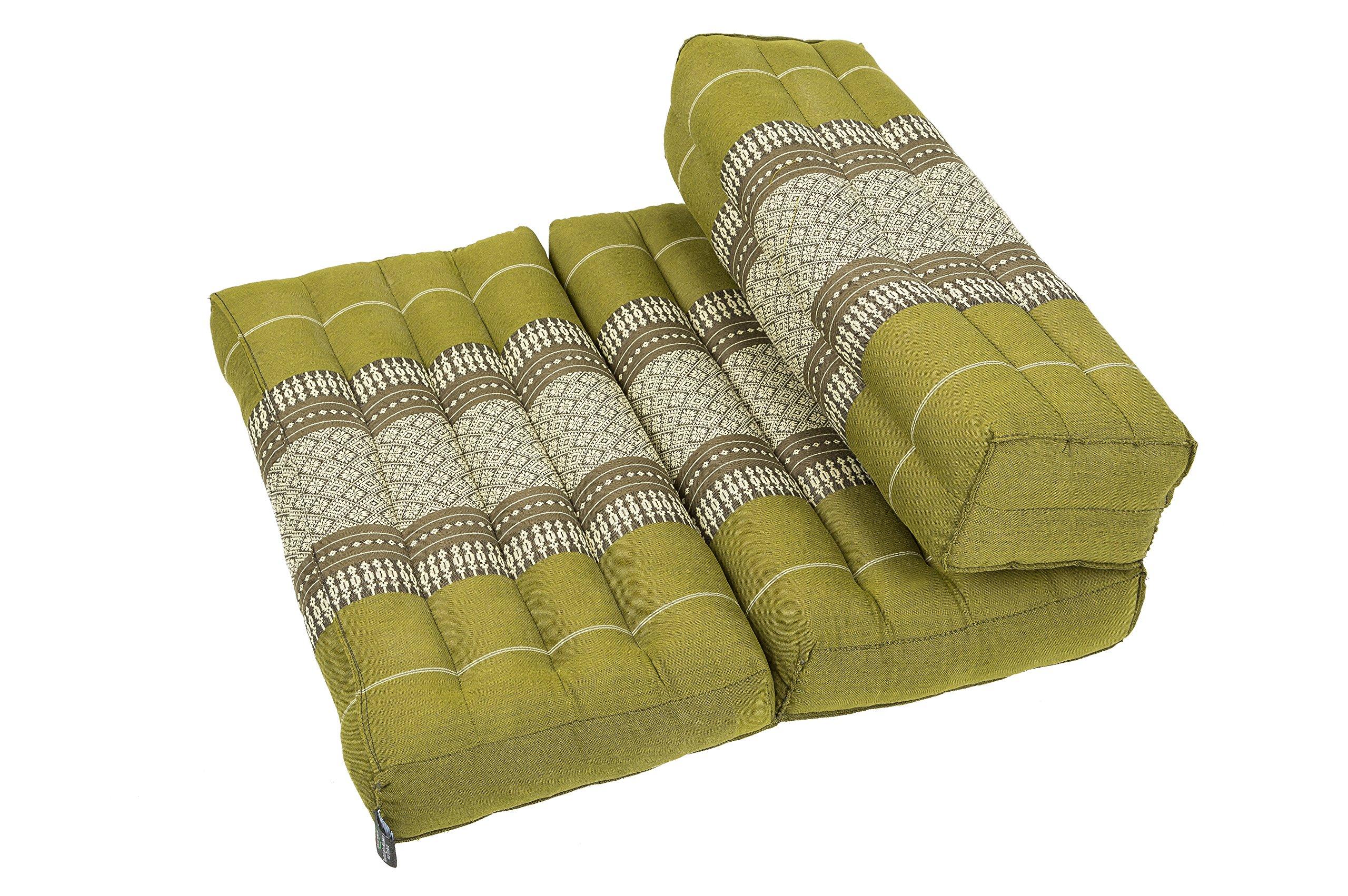 Kapok Dreams; Foldable Meditation Cushion, 100% Kapok Zafu/Zabuton, Thai Design bamboo green by Kapok Dreams