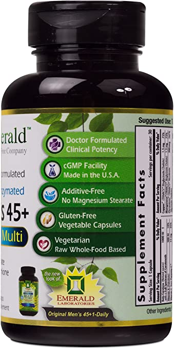 Amazon.com: Emerald Laboratories - Mens 45+ Multi Vit-A-Min (1-Daily) - with CoQ10, Saw Palmetto & Extra Lycopene - 30 Vegetable Capsules: Health ...