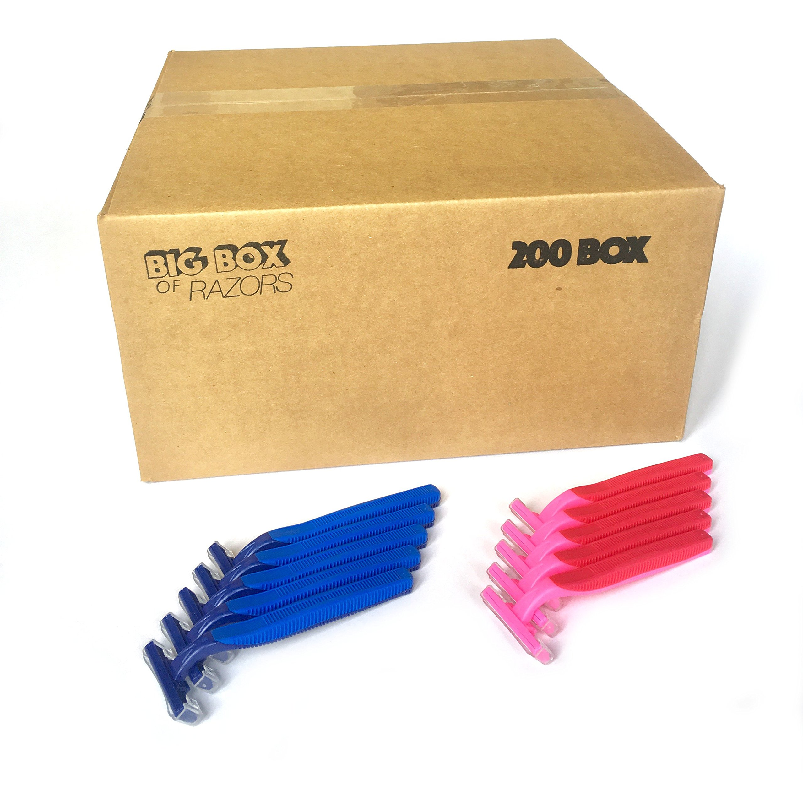 200 Box His & Her Combo Pack of Blue & Pink Bulk Wholesale Disposable Twin Blade Razors for Men & Women by Big Box of Razors