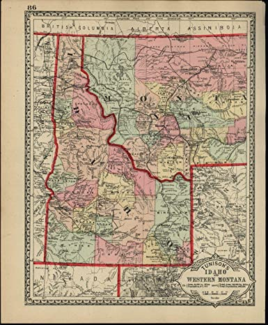 Amazon.com: Idaho Western Montana Wyoming c.1890 Tunison ...