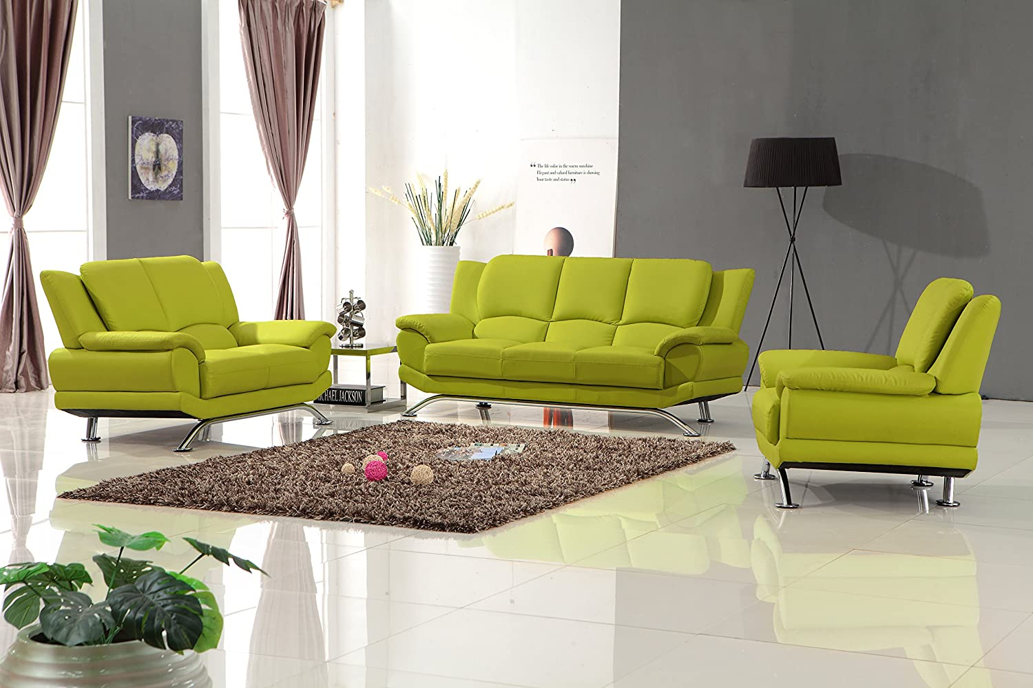 Amazon com matisse milano leather sofa set lime green kitchen dining