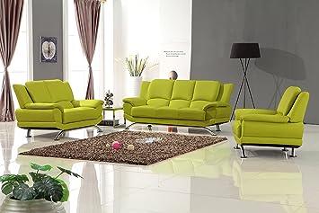 Amazon.com: Matisse Milano Leather Sofa Set (Lime Green ...