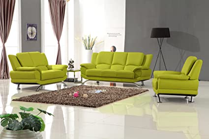Amazon Com Matisse Milano Leather Sofa Set Lime Green Kitchen