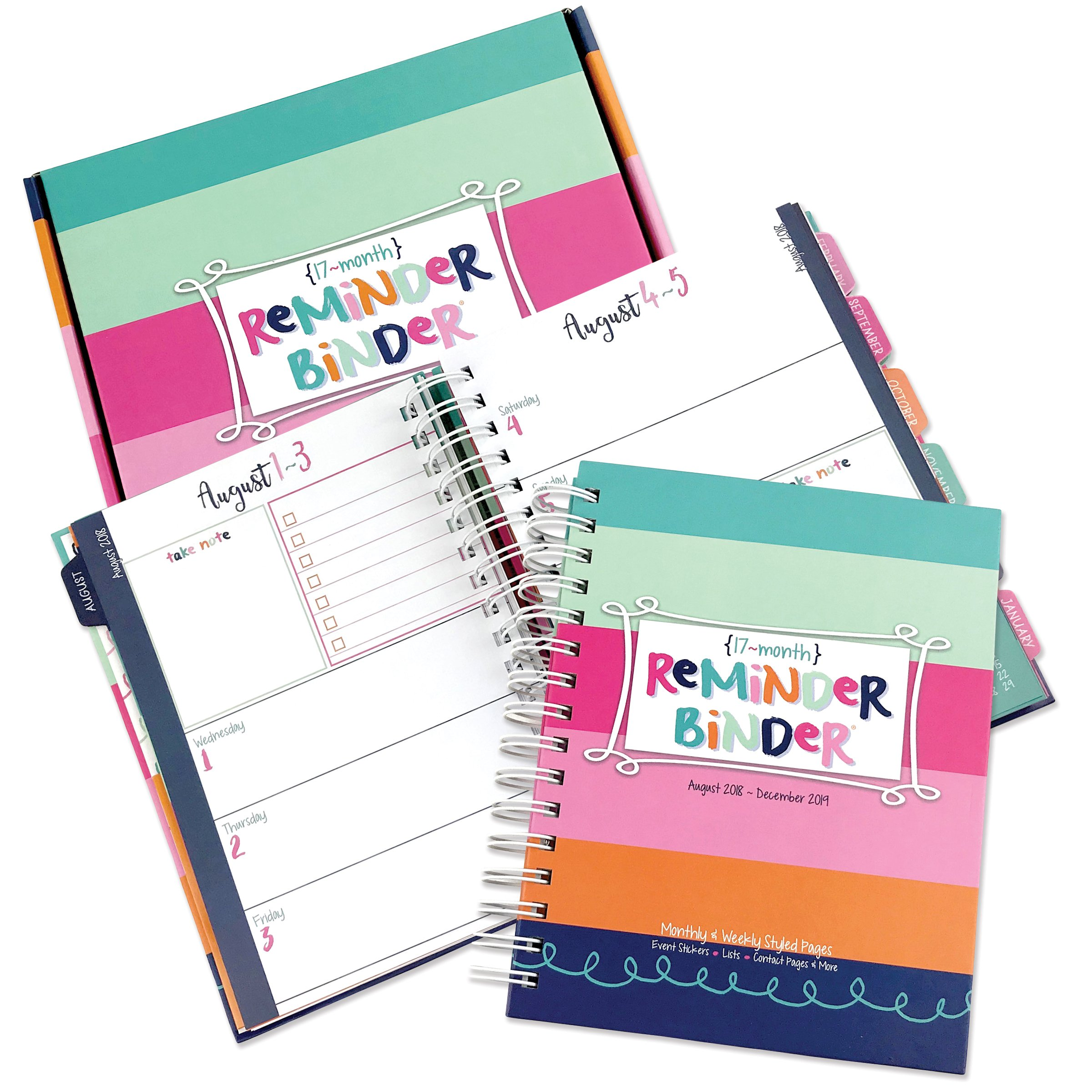 2018-2019 (17-Month) Planner with Weekly & Monthly Horizontal Layout, 6.5'' x 8.5'', Twin-Wire Binding, Hard Cover, Elastic Closure, Planner Stickers, to-Do Lists, Pockets & Dividers by Reminder Binder