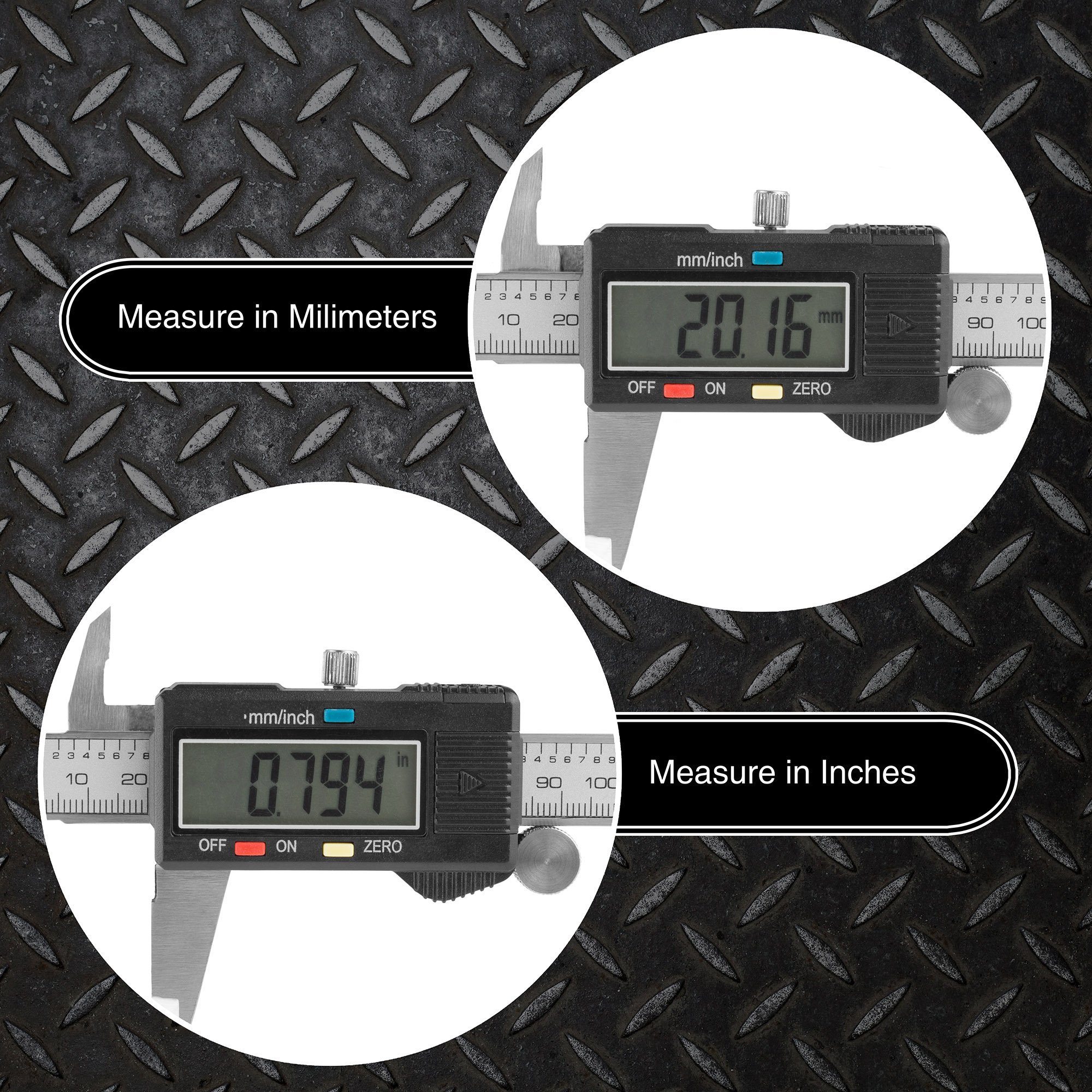 Electronic Digital Caliper, Stainless Steel with Extra Large LCD Screen and Inch/Metric Conversion- Measures Up to 6 Inch (0-150mm) by Stalwart by Stalwart (Image #4)