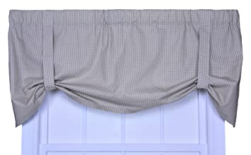 Logan Gingham Check Print Tie Up Valance Window Curtain, Linen