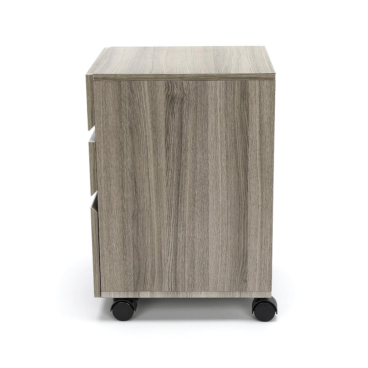 Essentials File Cabinet - 3-Drawer Wheeled Mobile Pedestal Cabinet, Driftwood (ESS-1030-DWD)