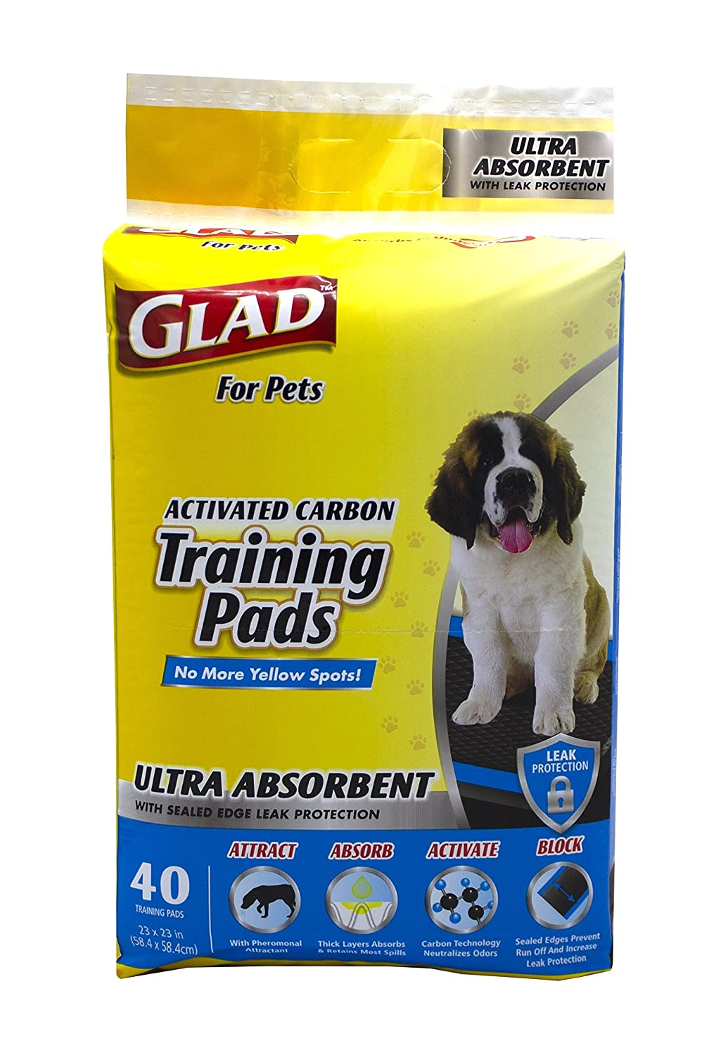 Glad for Pets FFP9714ST Glad For Pets Ultra-Absorbent Activated Carbon Training Pads with Folded Edges, 40 Count | Best Pee Pads for All Dogs and Puppies, Black Training Pads Folded Edges