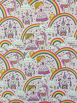 Rachel Ellen - Lote de 4 hojas de papel de regalo con diseño de unicornio y hada arcoíris.: Amazon.es: Oficina y papelería