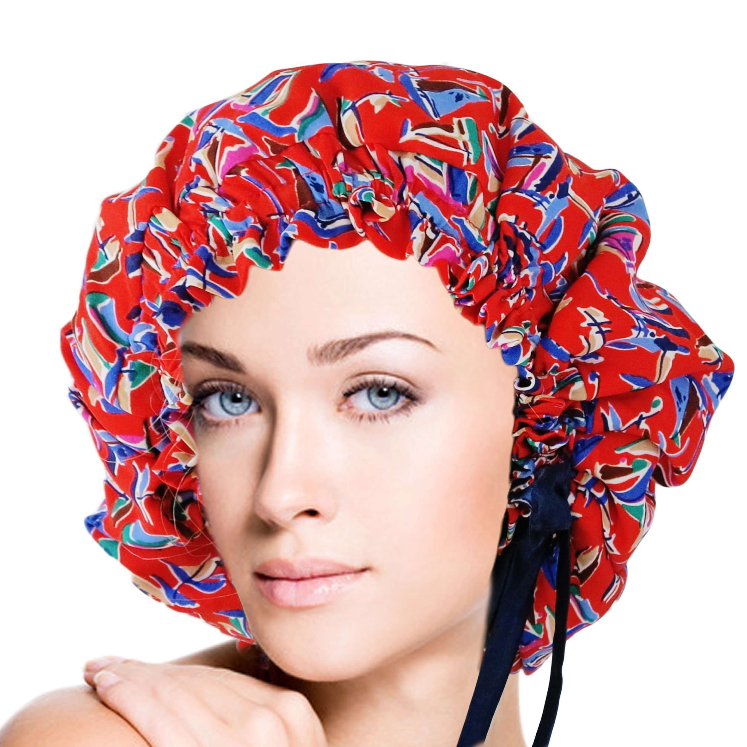 Adjustable Double Layers Sailing Print Silk Sleep Cap Night Cap Head Cover Bonnet for Hair Beauty Fits head sizes: 20.5''-30'' (52-76cm) by vangobeauty