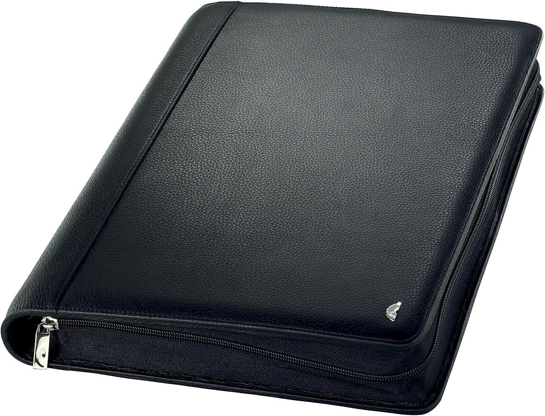 5x Alassio Visitenkarten-Ringbuch für 120 Karten Echtleder schwarz 6 Einlagen