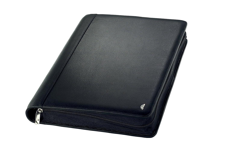 Terminplaner A5 mit Lasche Chronoplan 50172 Organizer Vollrindleder Ringbuch schwarz