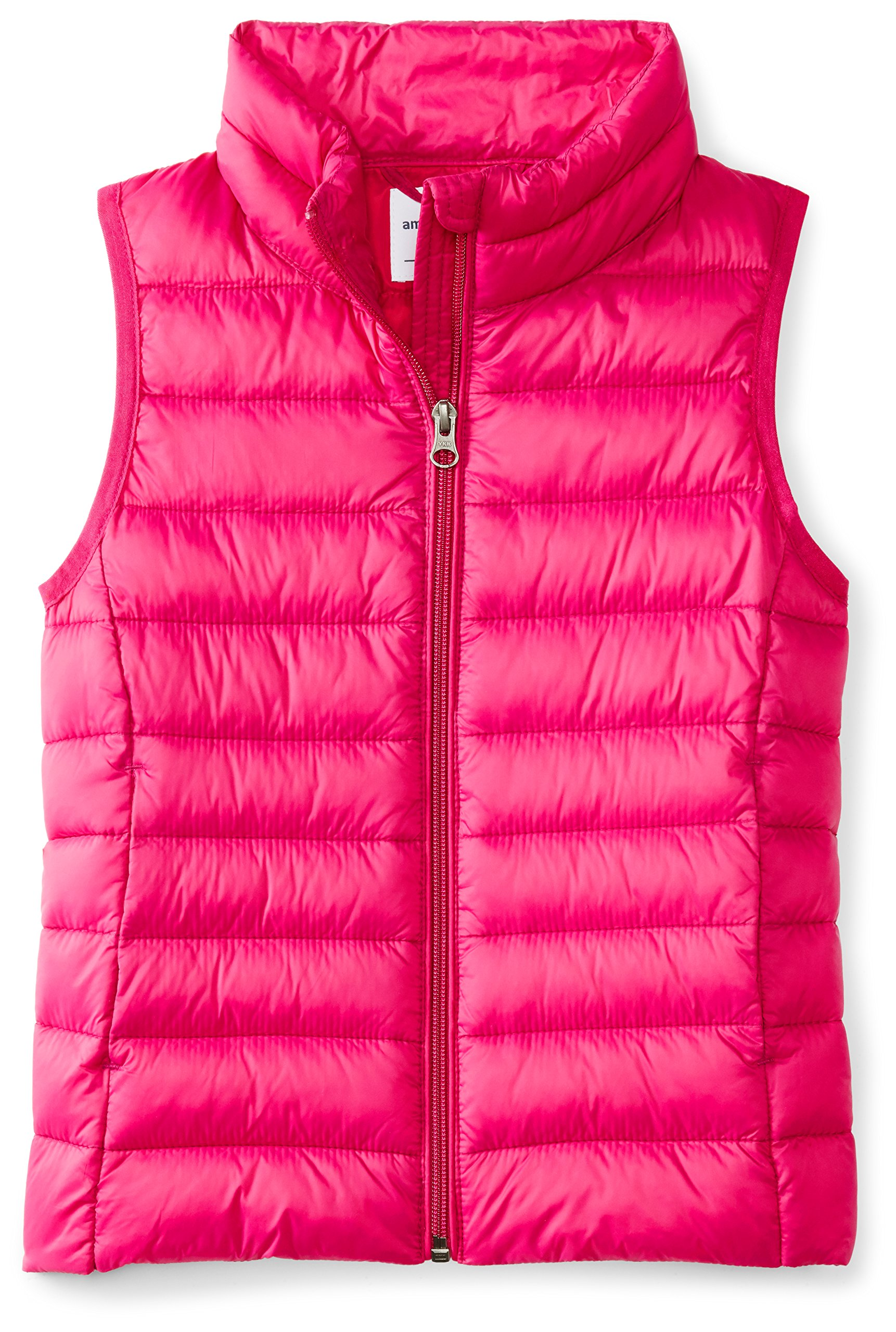 Amazon Essentials Big Girls' Lightweight Water-Resistant Packable Puffer Vest, Fuchsia Purple, Medium by Amazon Essentials