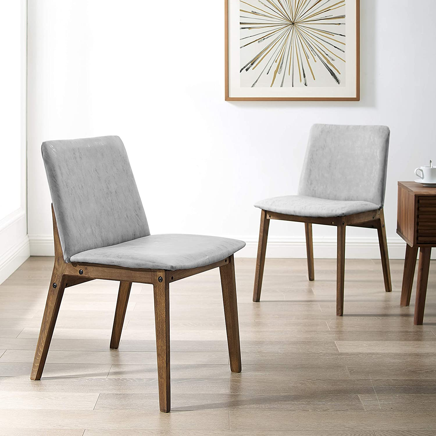 Amazon.com: Art Leon Wooden Chairs Set of 2 with Cushioned Seat and ...