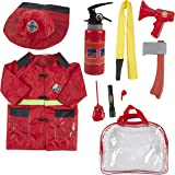Fireman Costume for Kids - 10-Piece Firefighter Role Play Kit with Fire Extinguisher, Helmet, Clothes, Bag, and Other Accessories for Pretend Play, Halloween Dress Up, School Play for Boys and Girls