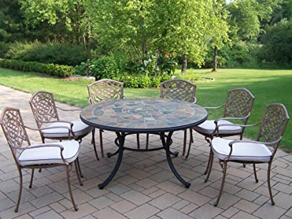 Charmant Oakland Living Stone Art 54 Inch Table, 7 Piece Dining Set With Cushions