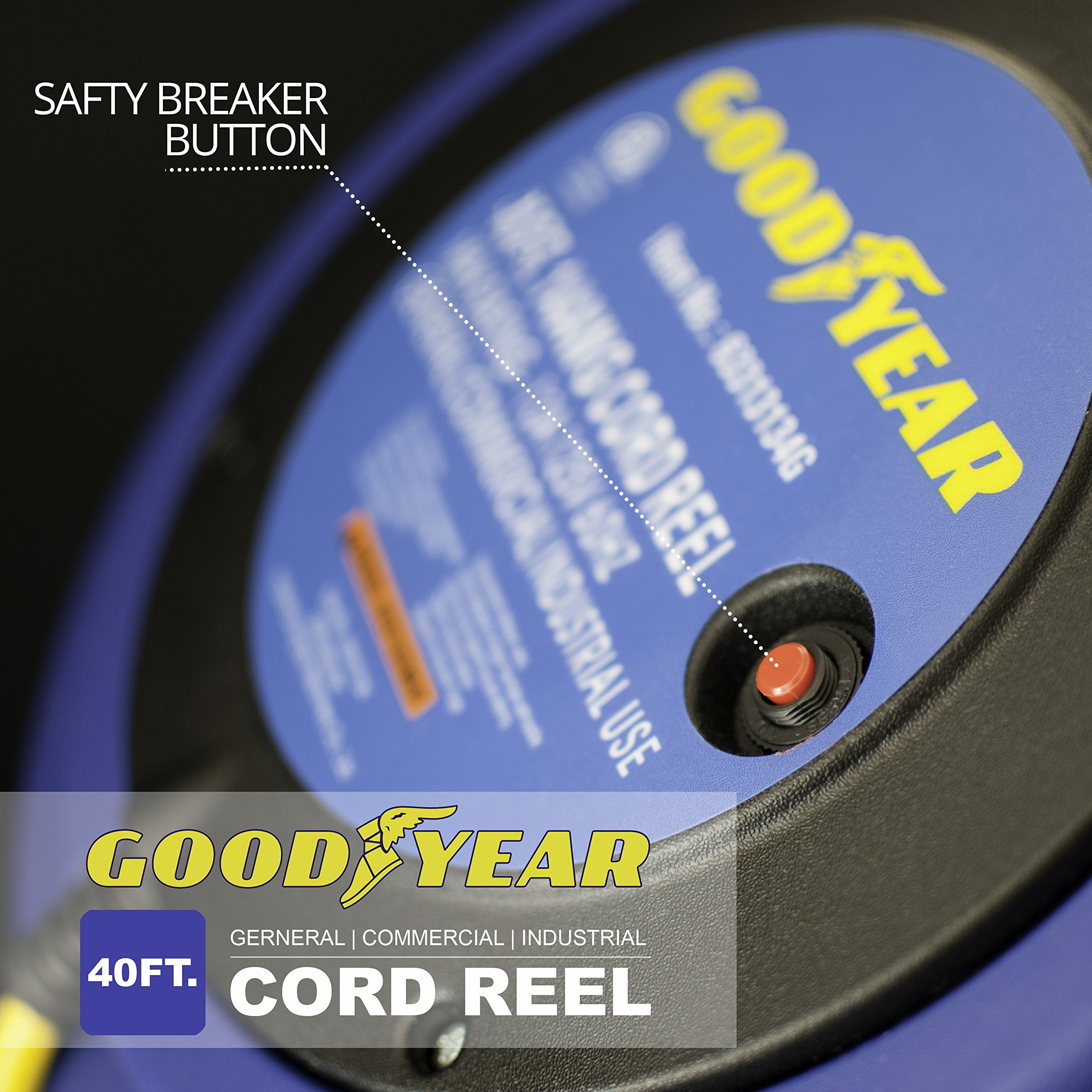 Goodyear Extension Cord Reel Heavy Duty, 40 ft., 12AWG/3C SJTOW, Triple Tap with LED Lighted Connector by Goodyear (Image #3)