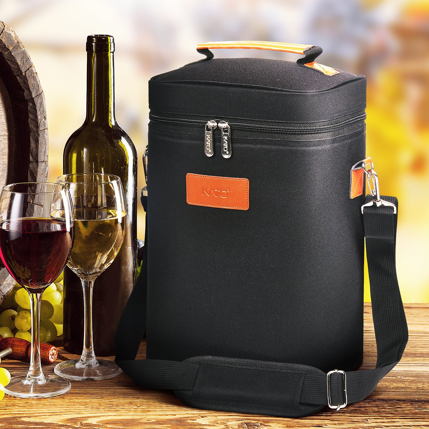 Kato Insulated Wine Carrier Bag - 4 Bottle Travel Padded Wine Carrying CoolerTote with Handle and Shoulder Strap, Great Wine Lover Gift, Black by Kato (Image #7)