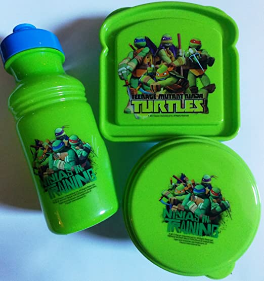 Tmnt Ninja Turtle Bread Shape Sandwich Box and 4pc Fork and Spoon Set Bundle