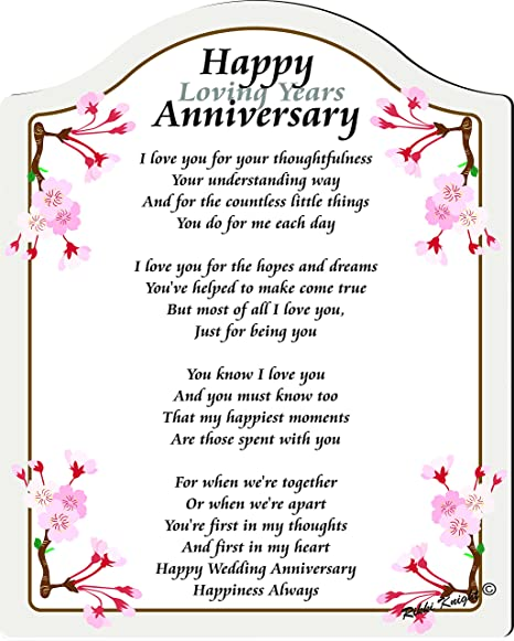 Happy Anniversary My Husband Or Wife Unisex Touching 5x7 Poem With