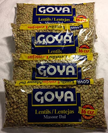 Goya Lentils Dry 4 - 1 Lb Bags (4 Pack) Dried Great for Lentil