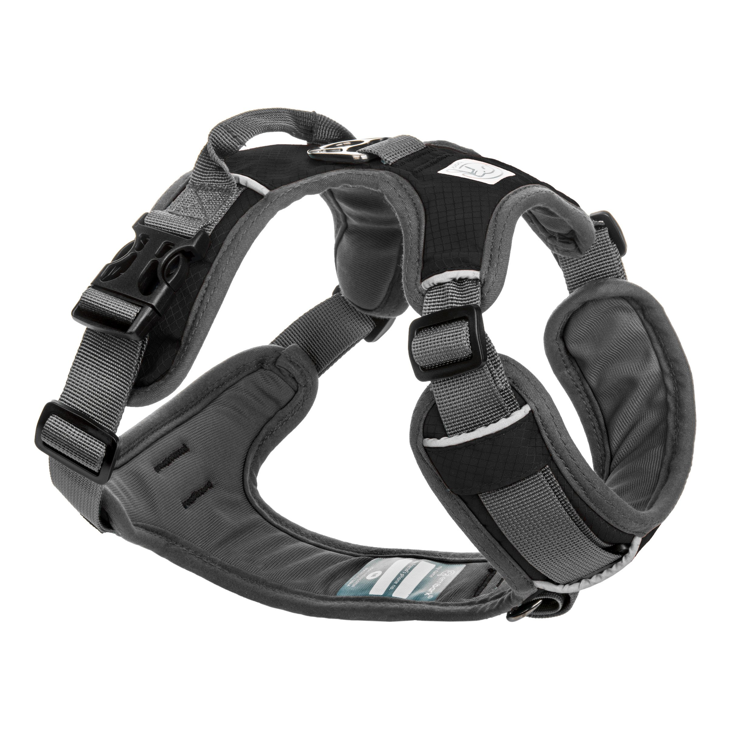 Embark Active Dog Harness Medium Size, Easy On and Off with Front and Back Leash Attachment Points & Control Handle - No Pull Training, Size Adjustable and No Choke (Medium - Black)