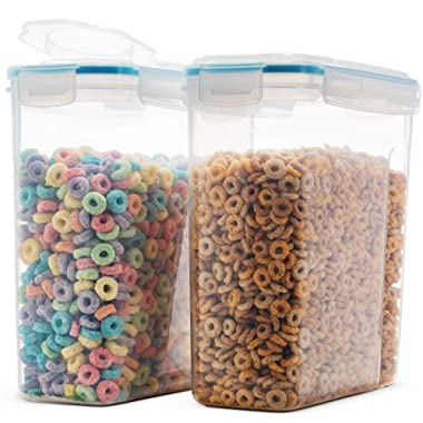 Komax Biokips Durable Cereal Container Set | 2 Large (16.9 Cups 135 Ounce) Airtight Food Storage Containers - Food Safe, BPA-Free Cereal Dispenser | Flour, Sugar, Dry Food Storage Containers with Lids