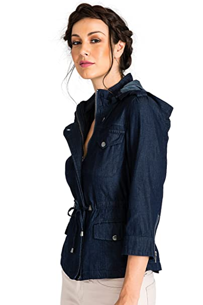 68beb26ef1f Standards   Practices Modern Women s Zip Up Safari Hooded Drawstring Jean  Jacket at Amazon Women s Coats Shop