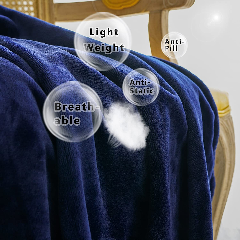 WONTEX Flannel Fleece Throw Blanket Super Soft Lightweight/for Couch Burgundy 50 x 60 inch